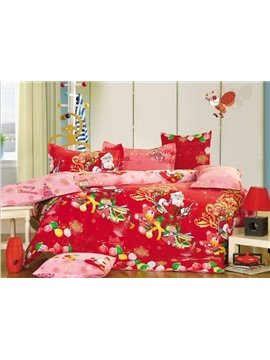 Festive Christmas Santa Claus and Reindeer Print 4-Piece Duvet Cover Sets