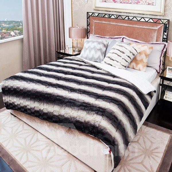 Unique Black and White Stripes Soft Plush Quilt