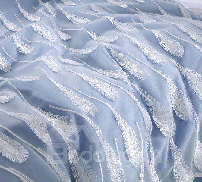 Dreamy Feather Embroidery Blue Long-staple Cotton 4-Piece Duvet Cover Sets