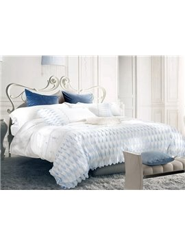 Exquisite Feather Embroidery White Long-staple Cotton 4-Piece Duvet Cover Sets