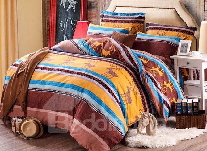 Fancy Christmas Elk and Stripes Print Cotton 4-Piece Duvet Cover Sets