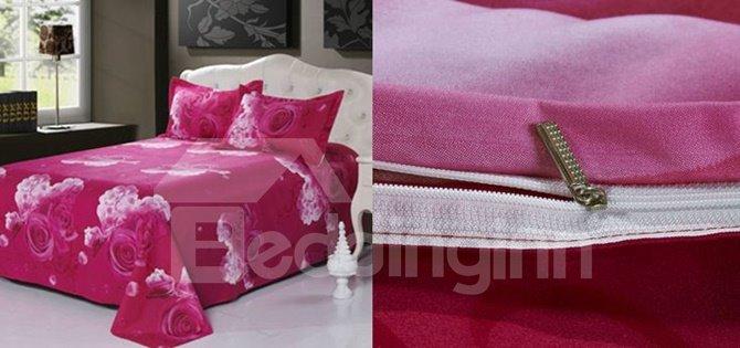 Lifelike 3D Pink Rose Printed 4-Piece Polyester Duvet Cover Sets