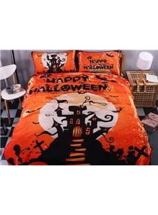 Magical Halloween Castle Print 4-Piece Polyester Duvet Cover Sets