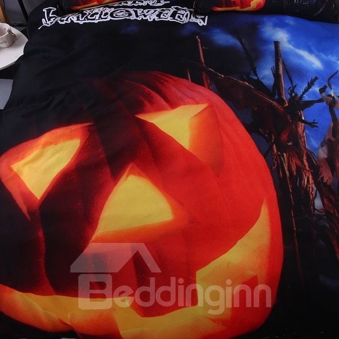 Unique Halloween Pumpkin Print Blue 4-Piece Polyester Duvet Cover Sets