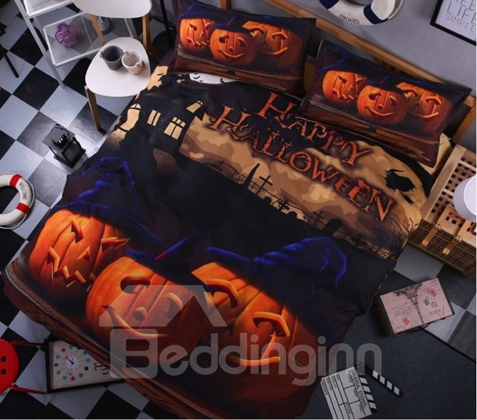 Lovely 3D Halloween Pumpkins Printed 4-Piece Polyester Duvet Cover Sets