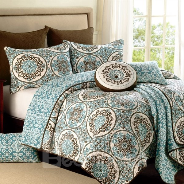 Boho Blue Medallion Print Patchwork Cotton 3-Piece Queen Size Bed in a Bag