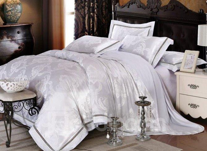 Elegant White Floral Jacquard 100% Cotton 4-Piece Duvet Cover Sets