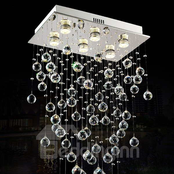 Rectangle Crystal Luxury Hanging Flush Mount LED Ceiling Light
