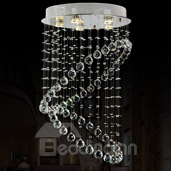 Dazzling Crystal Two Rings Shape 5 Bulbs Home Decorative LED Flush Mount