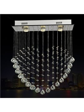Modern Fashion Crystal Heart Shaped Three Bulbs LED Decorative Flush Mount