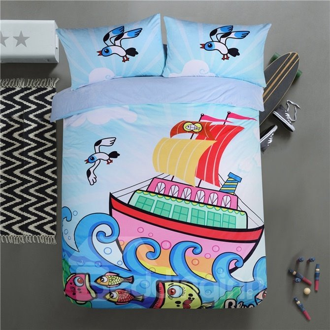 Muticolor Sailing Pattern Kids Polyester 4-Piece Duvet Cover Sets