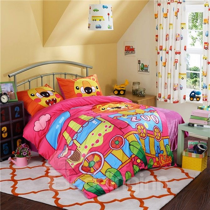 Cartoon Lion in Zoo Pattern Kids Polyester 4-Piece Duvet Cover Sets