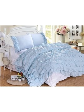 Royal Waterfall Ruffle 4-Piece Polyester Duvet Cover Sets