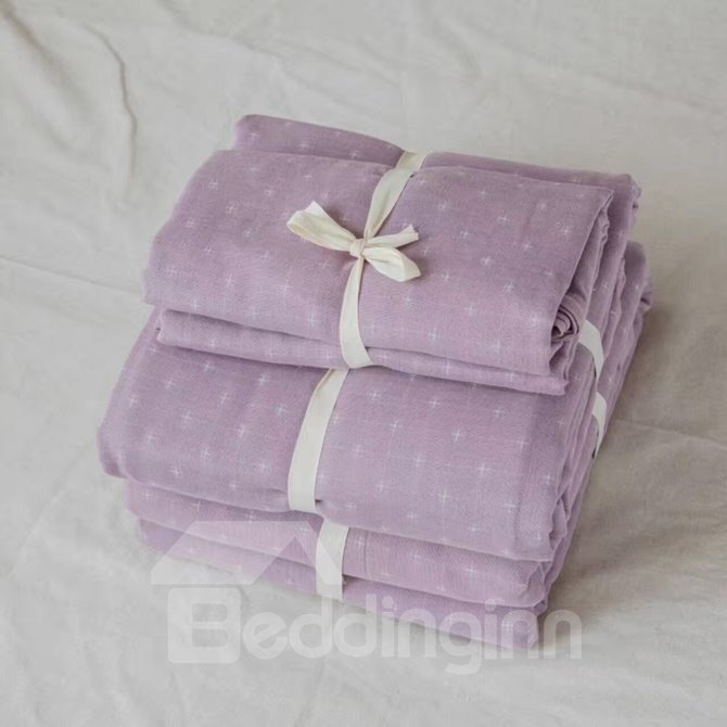 Concise Trellis Design 4-Piece Cotton Duvet Cover Sets
