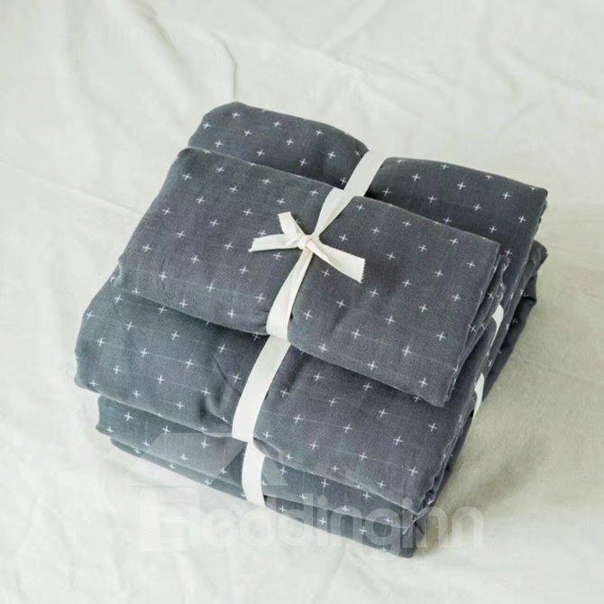 Simple Solid Grey 4-Piece Cotton Duvet Cover Sets