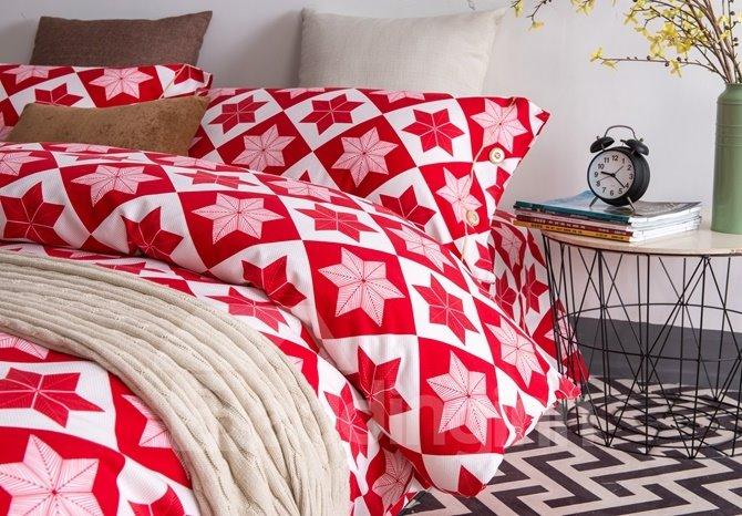 Minimalist Style Vibrant Red Cotton 4-Piece Duvet Cover Sets