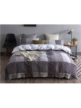Modern Design Neutral Style Cotton 4-Piece Duvet Cover Sets
