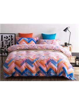 Unique Chevron and Floral 4-Piece Cotton Duvet Cover Sets