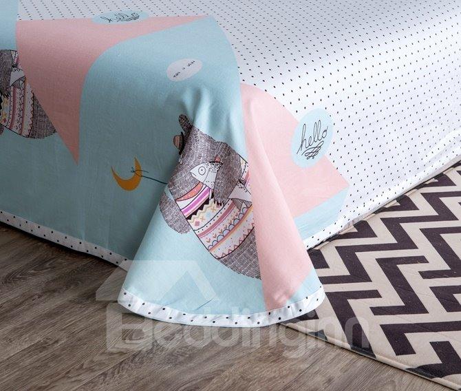 Adorable Cartoon Bear Print 4-Piece Cotton Duvet Cover Sets