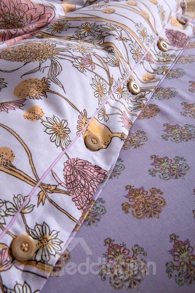 Pastoral Style Flower Sketch Print 4-Piece Cotton Duvet Cover Sets