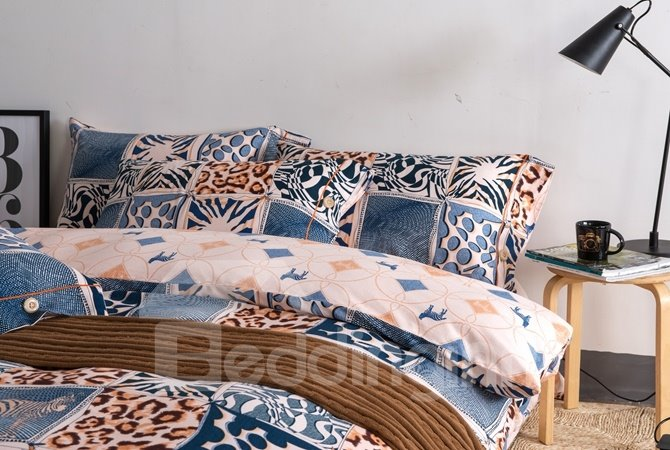 Retro Style Leopard Print 4-Piece Cotton Duvet Cover Sets