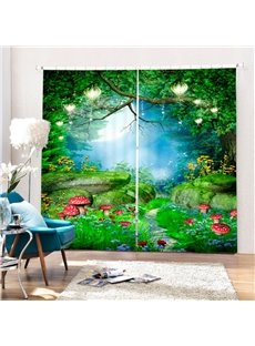 Wonderful Deep Forest Scenery Printing 3D Curtain