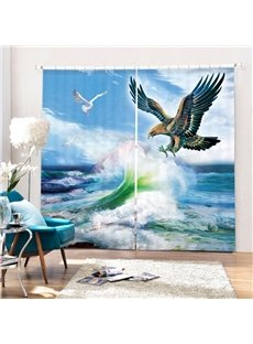 Eagle Flying against the Waves Printing 3D Curtain