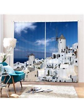 The Beautiful Town in Greece Aegean Sea Printing 3D Curtain