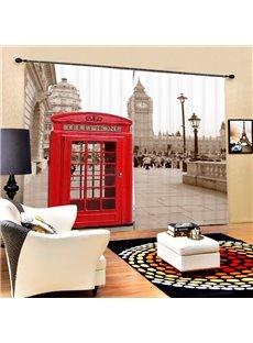British Red Telephone Box Printing 3D Curtain