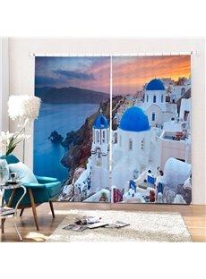 Beautiful Greece Aegean Sea Town Printing 3D Curtain