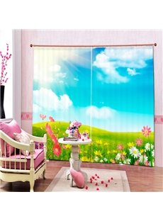 Sun Shine Glass Land and Flowers Printing 3D Curtain