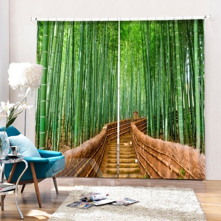 Green Bamboo on both Sides of the Path Printing 3D Curtain