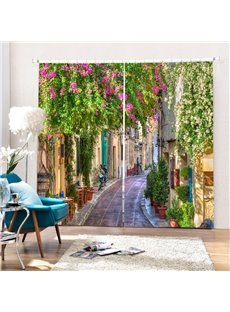 Greece Street Scenery Printing 3D Curtain