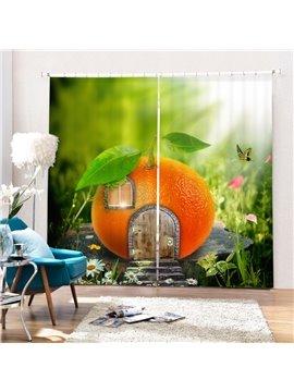Magic Orange House Printing 3D Curtain