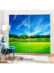 Blue Sky and Green Pasture Printing 3D Curtain