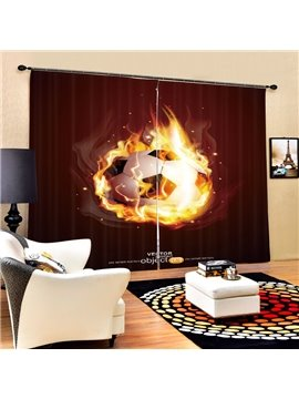 Amazing Fire Soccer Printing 3D Curtain