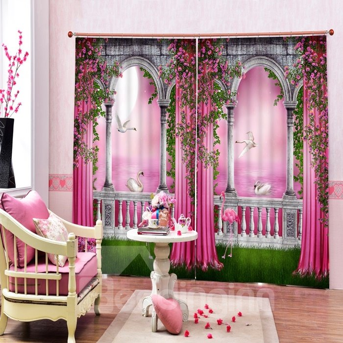 3D Flowers and Swans in Pink World Printed Romantic Style Custom ...