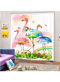 Cartoon Girl Riding Flamingo Printing 3D Curtain
