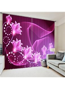 Sparkling Flowers Printing Purple 3D Curtain
