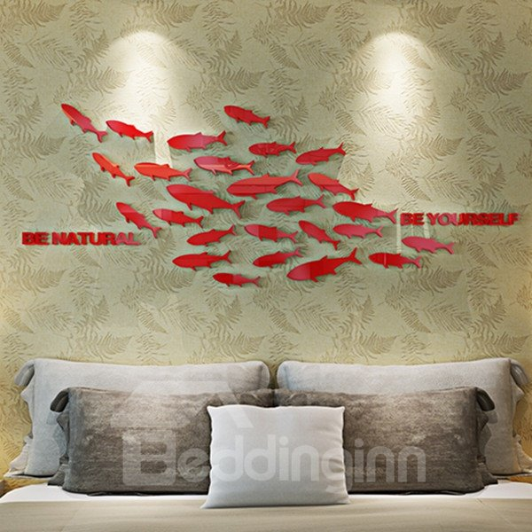 Creative Design Acrylic Mirror Fishes Pattern Decorative 3D Wall Stickers