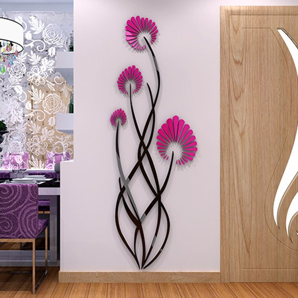 Elegant Acrylic Modern Design Flower Pattern Home Decorative 3D Wall Stickers