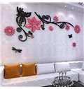 Flowers and Black Branches Pattern Acrylic 3D Wall Stickers