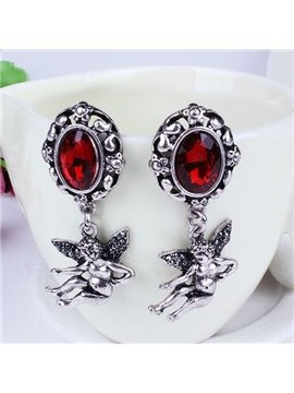 Amazing Diamante Stone Angel Design Pendant Earrings