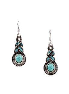 Vintage Turquoise Diamante Stone Pendant Earrings