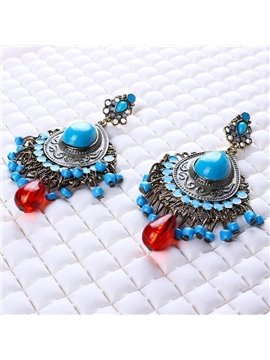 Elagant Turquoise Diamante Stone Pendant Earrings
