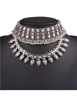 Shinning Diamante Stone Simple Design Choker Necklace
