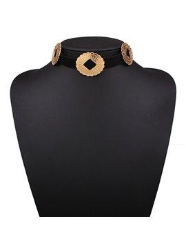 Simple Ellipse Design Black Choker Necklace