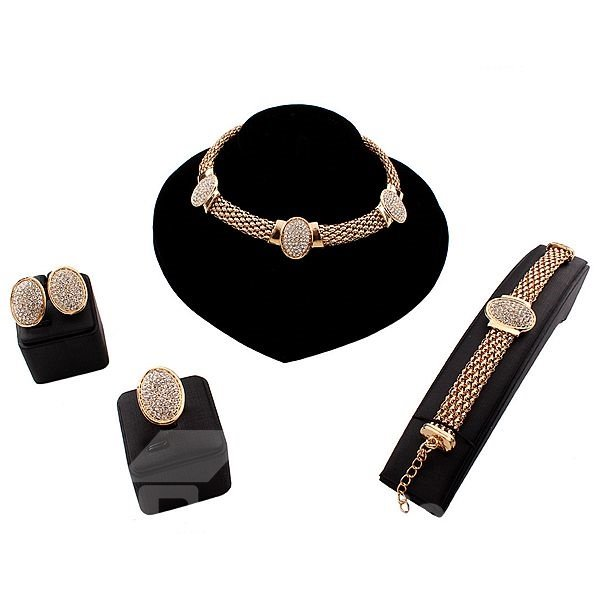 Sparking Alloy 4-Pieces Chocker Jewelry Sets