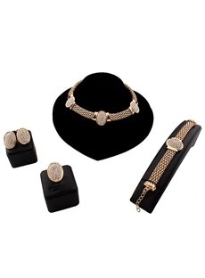 Sparking Crystal Alloy 4-Pieces Chocker Jewelry Sets