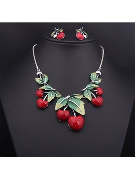Cute Cherry Shape Alloy Statement Necklace